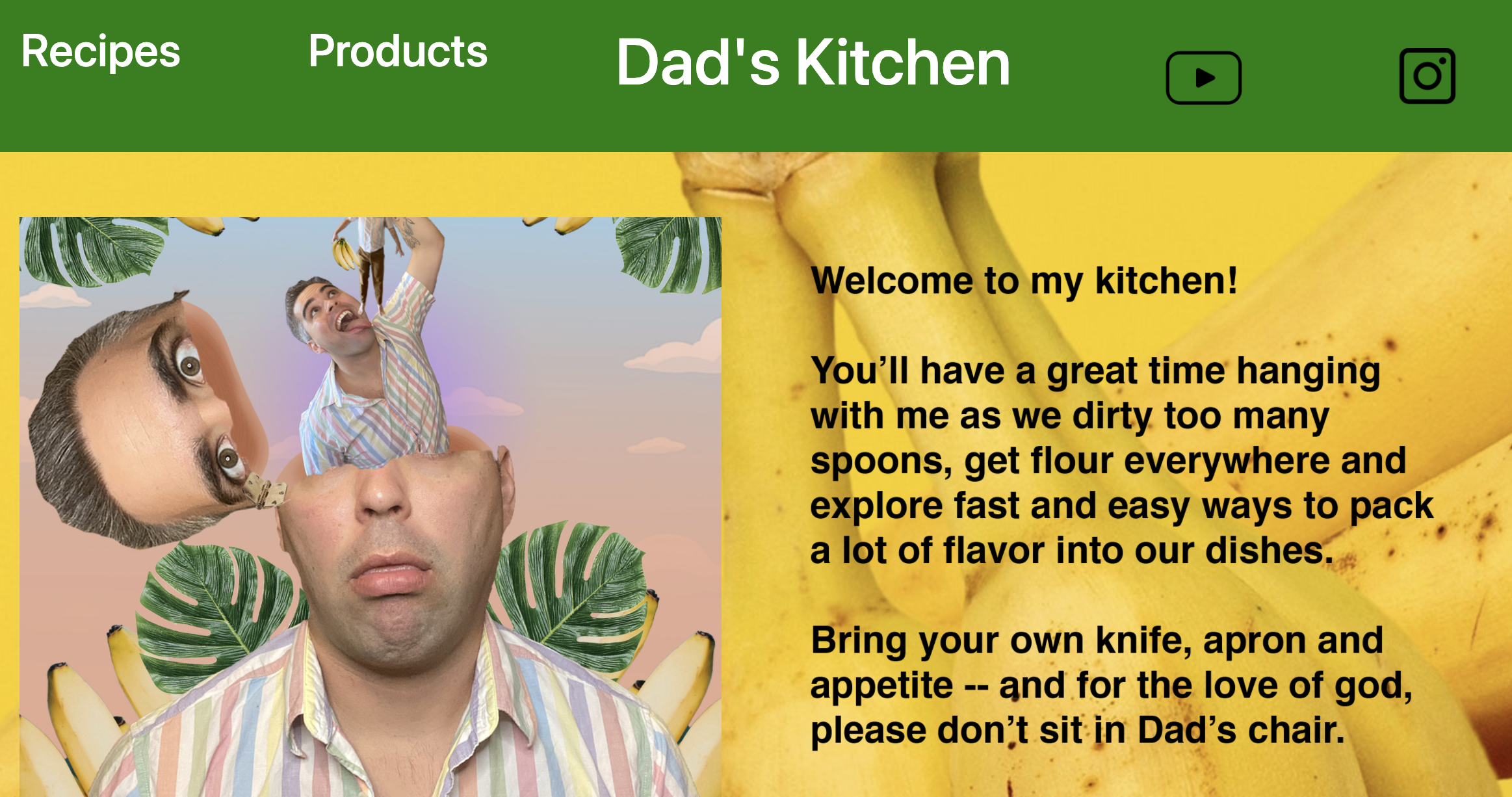 Silly and tacky mock-up of a cooking blog