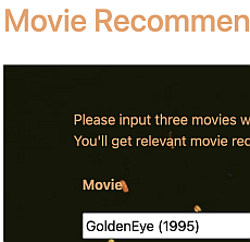 Input three movies with ratings to get movie recommendations