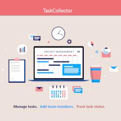 Create a task.  Add team members. Track task status.
